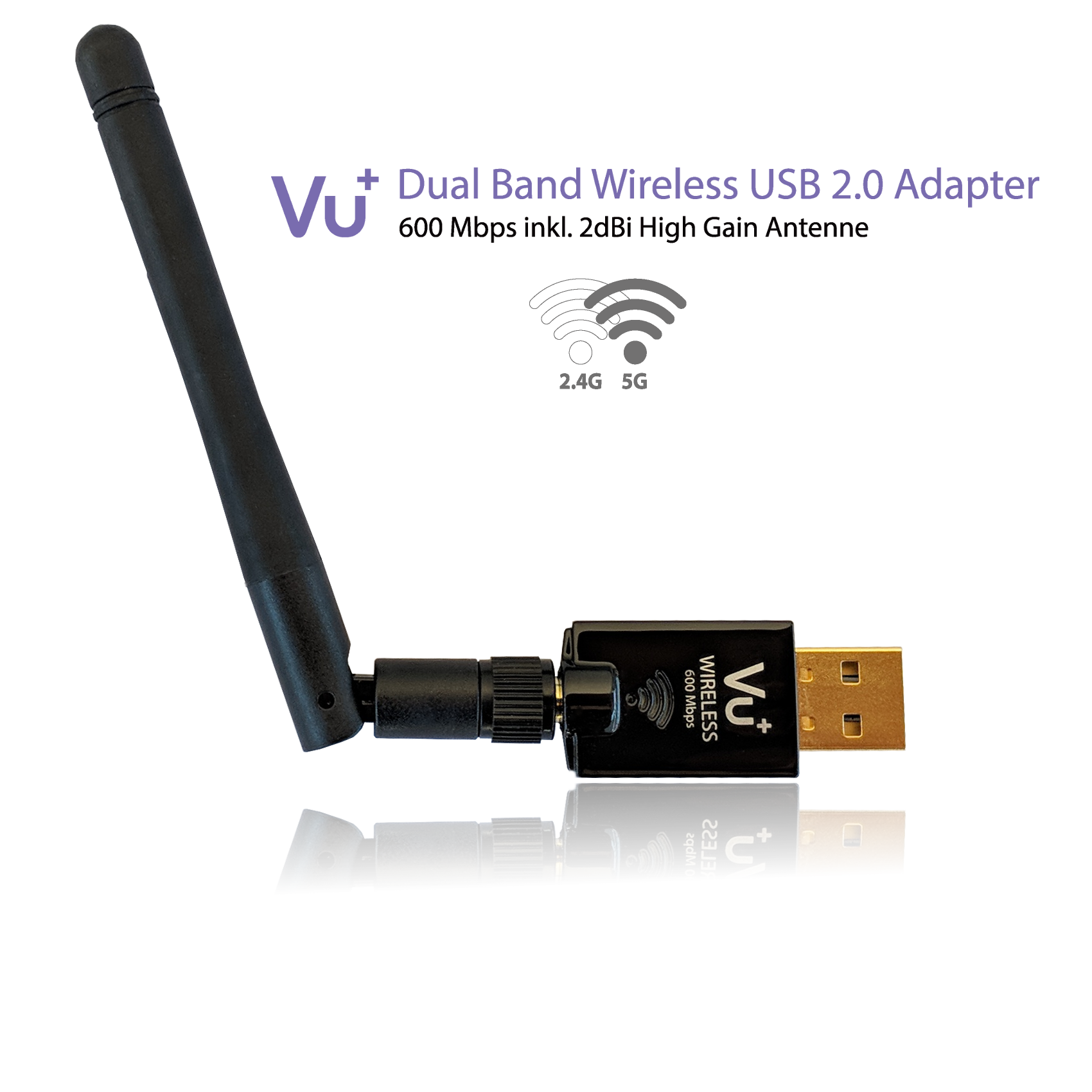VU+® Dual Band Wireless USB 2.0 Adapter 600 Mbps inkl. Antenne