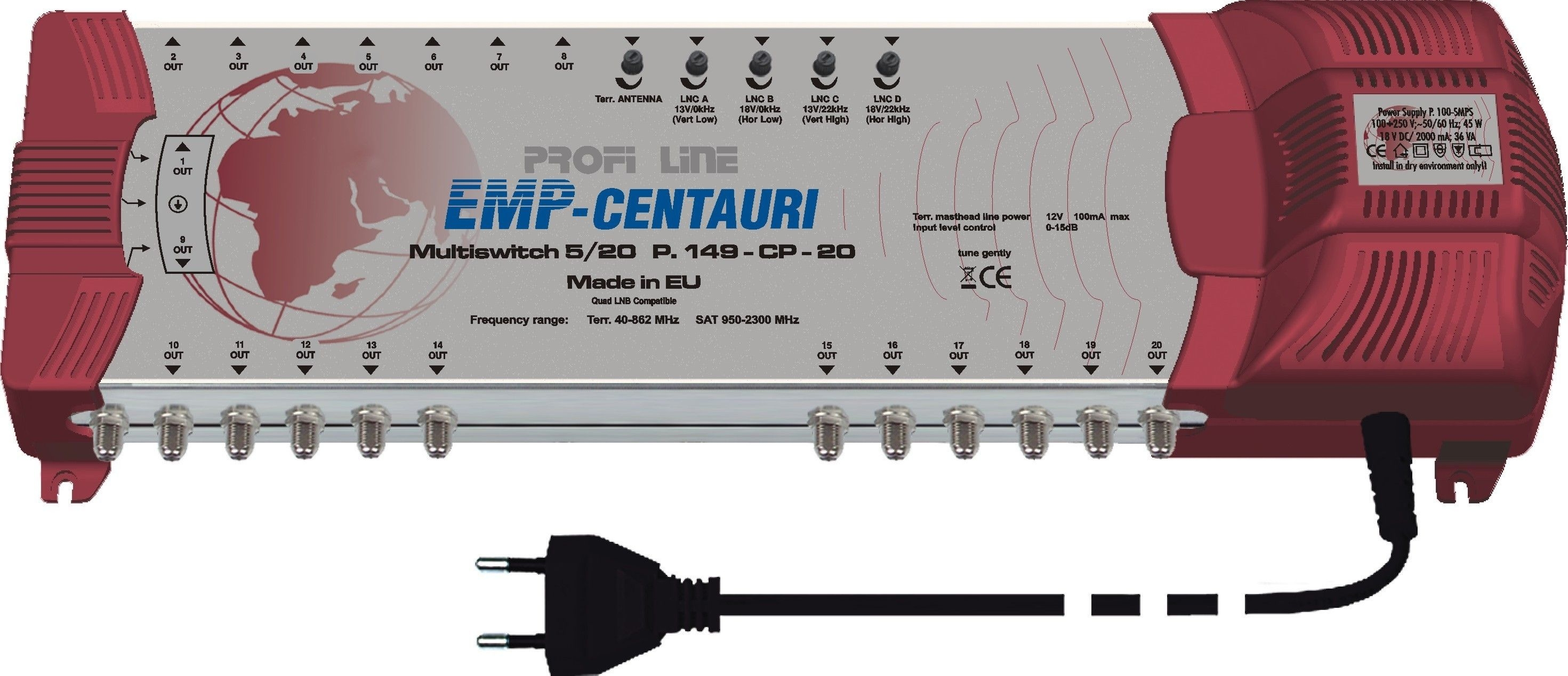 EMP Profi-Line Multischalter MS 5/20 PIU-6 mit Netzteil