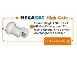 Megasat High Gain Single LNB 0.1dB 70dB