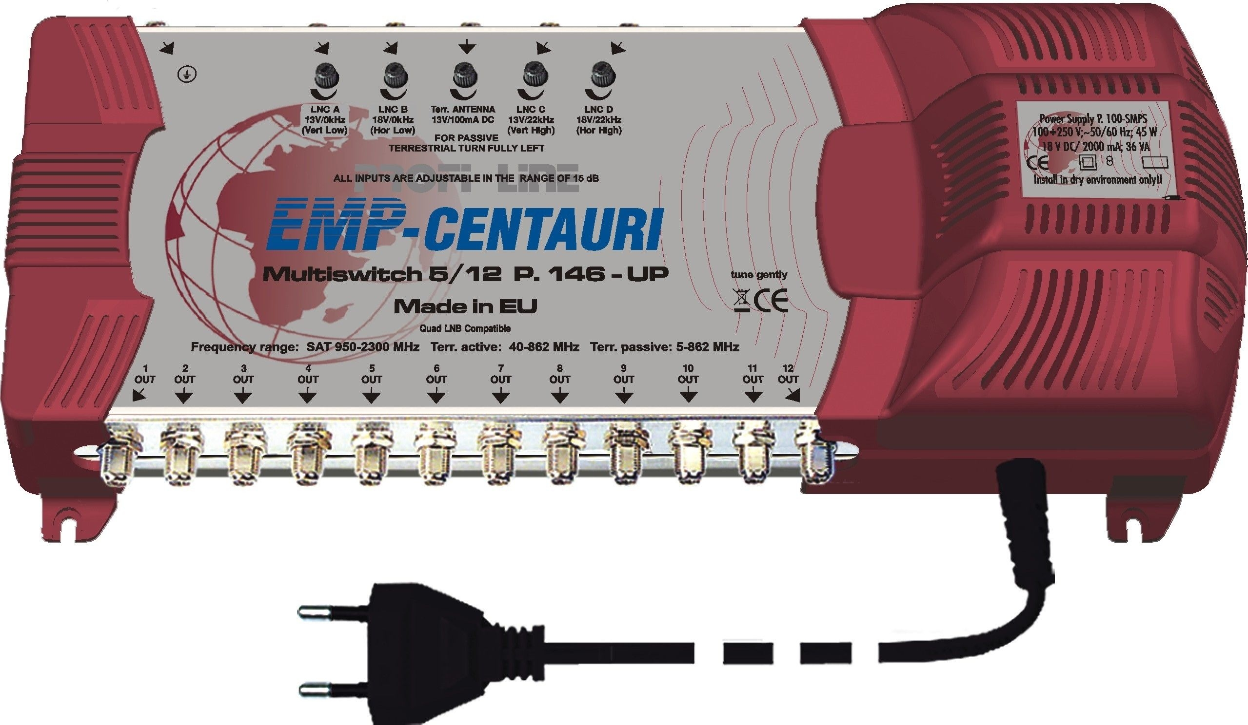 EMP Profi-Line Multischalter MS5/12 PIU-5 (P.146-UP) mit Netzteil