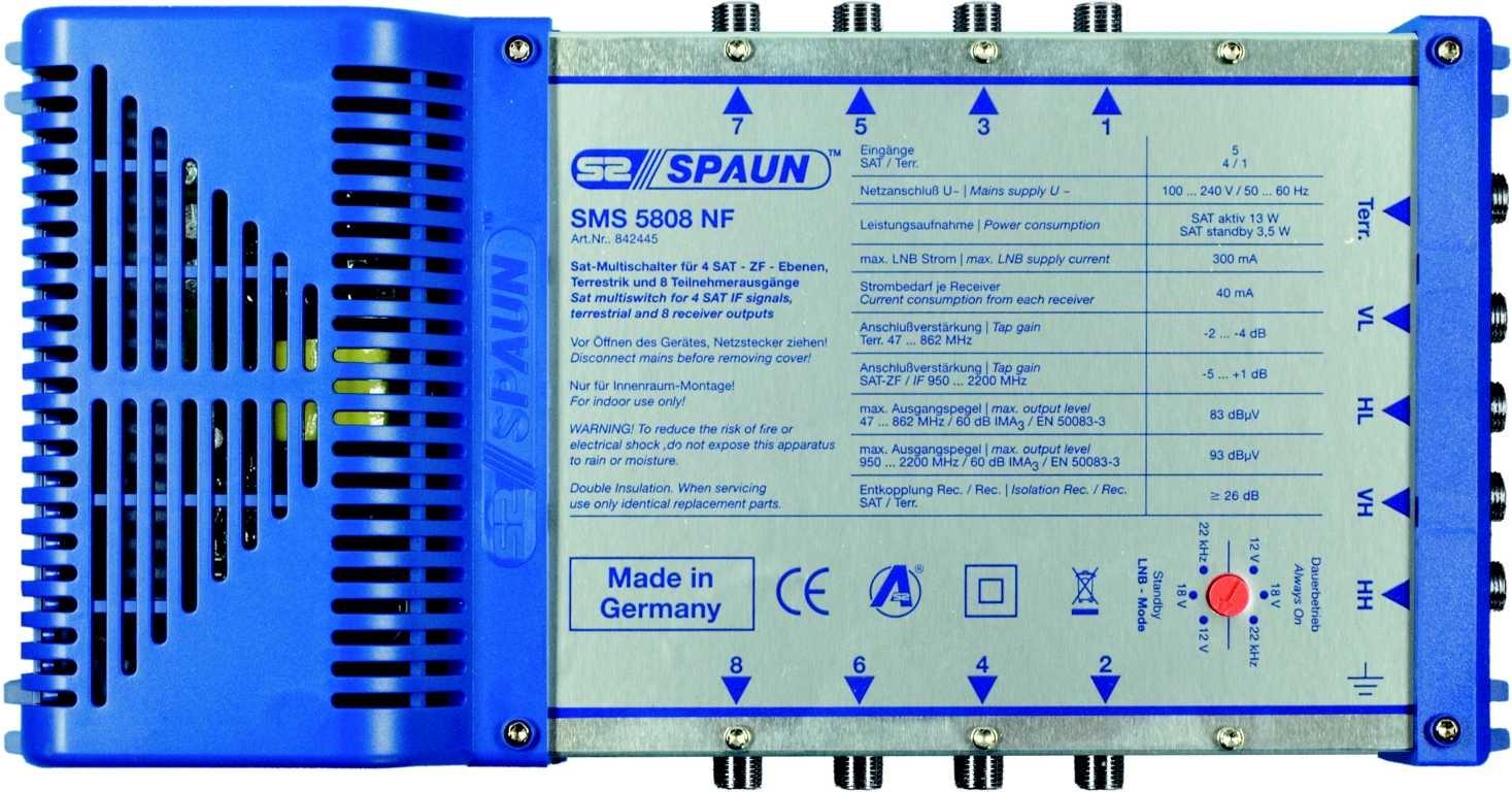 Spaun SMS 5808 NF -- Multischalter 5 / 8
